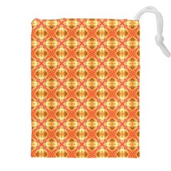 Peach Pineapple Abstract Circles Arches Drawstring Pouches (XXL)
