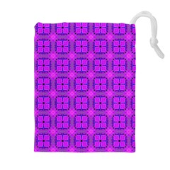 Abstract Dancing Diamonds Purple Violet Drawstring Pouches (Extra Large)