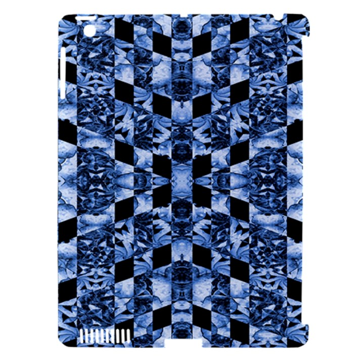 Indigo Check Ornate Print Apple iPad 3/4 Hardshell Case (Compatible with Smart Cover)