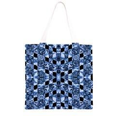 Indigo Check Ornate Print Grocery Light Tote Bag