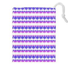 Floral Stripes Pattern Drawstring Pouches (XXL)