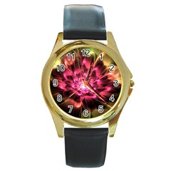 Red Peony Round Gold Metal Watch