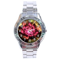 Red Peony Stainless Steel Analogue Watch