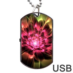 Red Peony Dog Tag Usb Flash (two Sides)