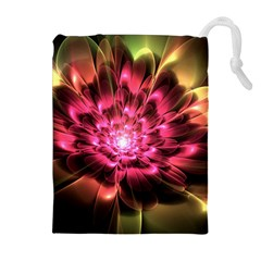 Red Peony Drawstring Pouches (Extra Large)