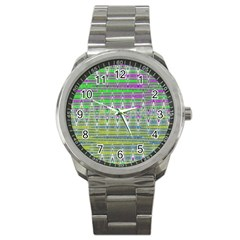 Colorful Zigzag Pattern Sport Metal Watch