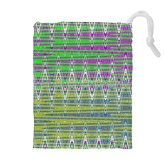 Colorful Zigzag Pattern Drawstring Pouches (Extra Large)