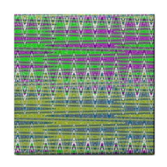 Colorful Zigzag Pattern Tile Coasters