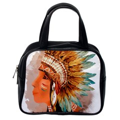 Native American Young Indian Shief Classic Handbags (One Side)