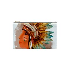 Native American Young Indian Shief Cosmetic Bag (Small)