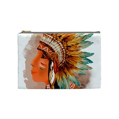 Native American Young Indian Shief Cosmetic Bag (Medium)