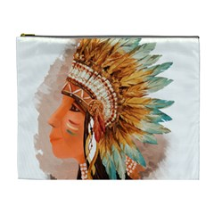 Native American Young Indian Shief Cosmetic Bag (XL)