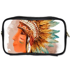 Native American Young Indian Shief Toiletries Bags 2 Side