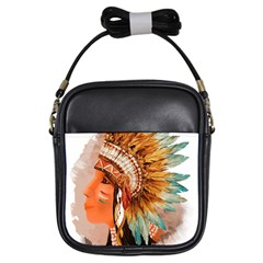 Native American Young Indian Shief Girls Sling Bags
