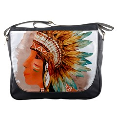 Native American Young Indian Shief Messenger Bags