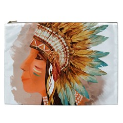 Native American Young Indian Shief Cosmetic Bag (XXL)