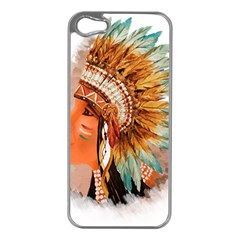 Native American Young Indian Shief Apple iPhone 5 Case (Silver)