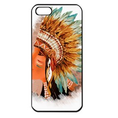 Native American Young Indian Shief Apple iPhone 5 Seamless Case (Black)