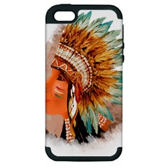 Native American Young Indian Shief Apple Iphone 5 Hardshell Case (pc+silicone)