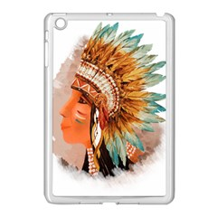 Native American Young Indian Shief Apple iPad Mini Case (White)