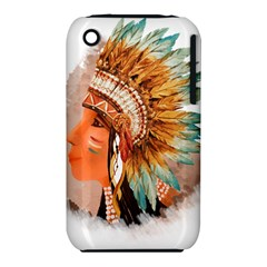 Native American Young Indian Shief Apple iPhone 3G/3GS Hardshell Case (PC+Silicone)