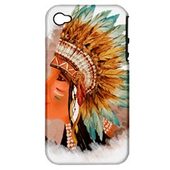 Native American Young Indian Shief Apple Iphone 4/4s Hardshell Case (pc+silicone)