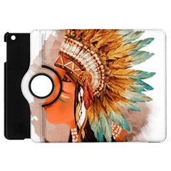 Native American Young Indian Shief Apple Ipad Mini Flip 360 Case