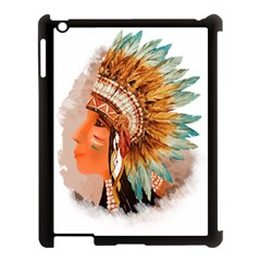 Native American Young Indian Shief Apple iPad 3/4 Case (Black)