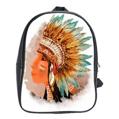 Native American Young Indian Shief School Bags (xl)