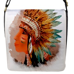 Native American Young Indian Shief Flap Messenger Bag (s)