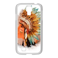 Native American Young Indian Shief Samsung GALAXY S4 I9500/ I9505 Case (White)