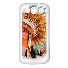 Native American Young Indian Shief Samsung Galaxy S3 Back Case (white)