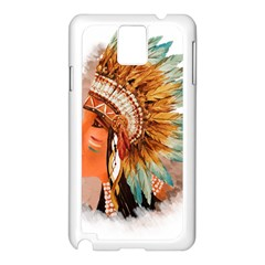 Native American Young Indian Shief Samsung Galaxy Note 3 N9005 Case (White)
