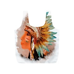 Native American Young Indian Shief Full Print Recycle Bags (S)