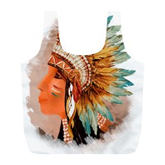 Native American Young Indian Shief Full Print Recycle Bags (l)