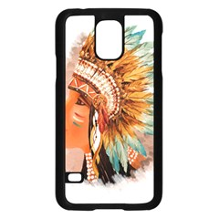 Native American Young Indian Shief Samsung Galaxy S5 Case (Black)