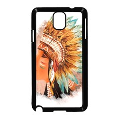 Native American Young Indian Shief Samsung Galaxy Note 3 Neo Hardshell Case (black)