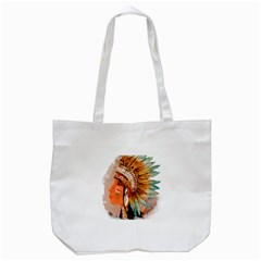 Native American Young Indian Shief Tote Bag (White)