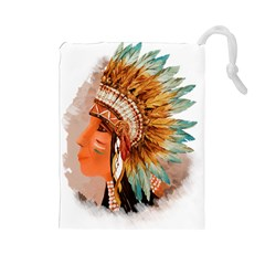 Native American Young Indian Shief Drawstring Pouches (Large)