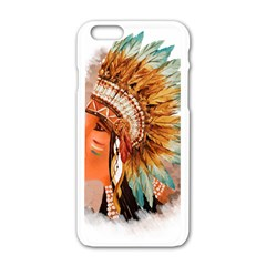 Native American Young Indian Shief Apple Iphone 6/6s White Enamel Case