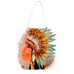 Native American Young Indian Shief Grocery Light Tote Bag