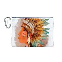 Native American Young Indian Shief Canvas Cosmetic Bag (M)