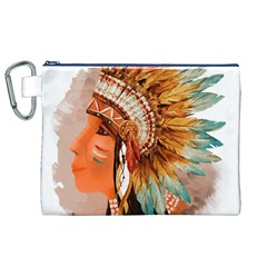 Native American Young Indian Shief Canvas Cosmetic Bag (XL)