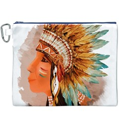 Native American Young Indian Shief Canvas Cosmetic Bag (XXXL)