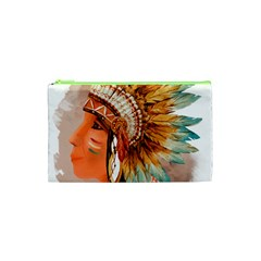 Native American Young Indian Shief Cosmetic Bag (XS)