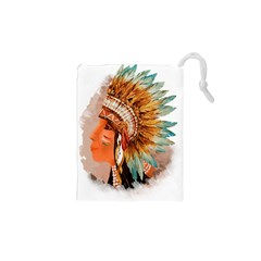 Native American Young Indian Shief Drawstring Pouches (xs)