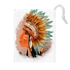 Native American Young Indian Shief Drawstring Pouches (Extra Large)