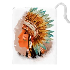 Native American Young Indian Shief Drawstring Pouches (XXL)