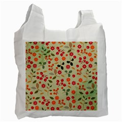 Elegant Floral Seamless Pattern Recycle Bag (Two Side)