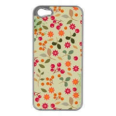 Elegant Floral Seamless Pattern Apple iPhone 5 Case (Silver)